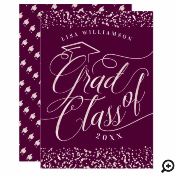 Elegant, Classy Burgundy & Gold Grad Invitation