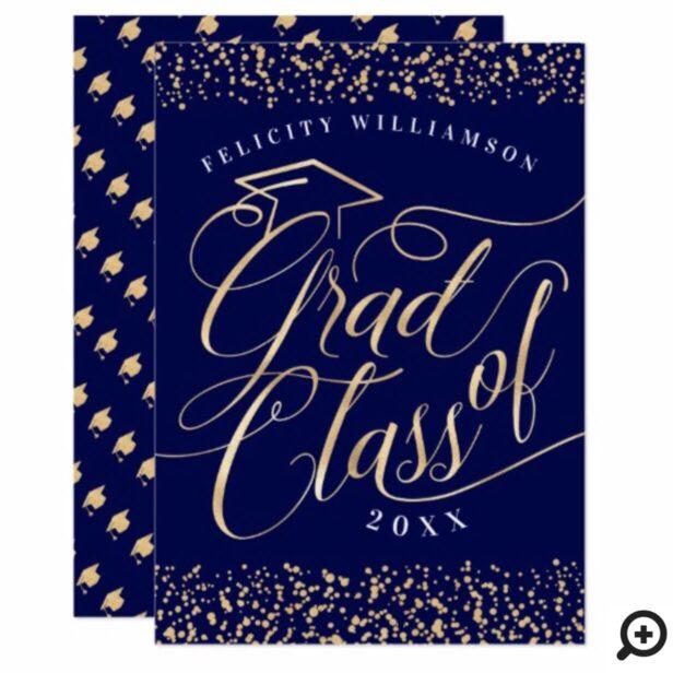 Elegant, Classy Gold & Navy Blue Grad Invitation
