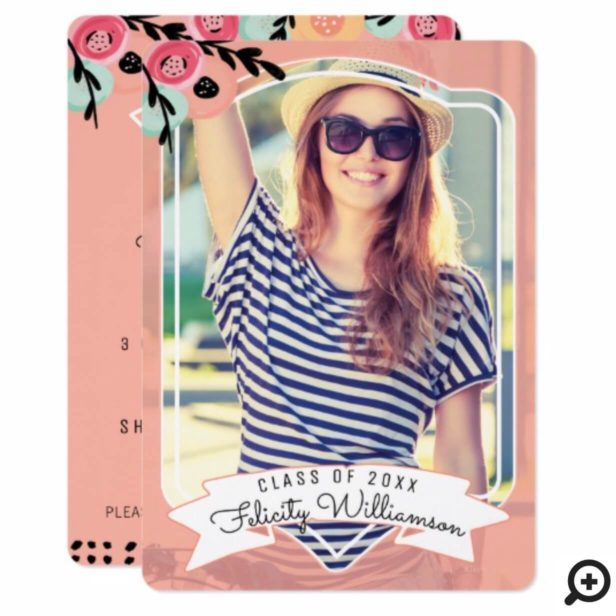 Chic & Trendy Floral Framed Photo Grad Invitation
