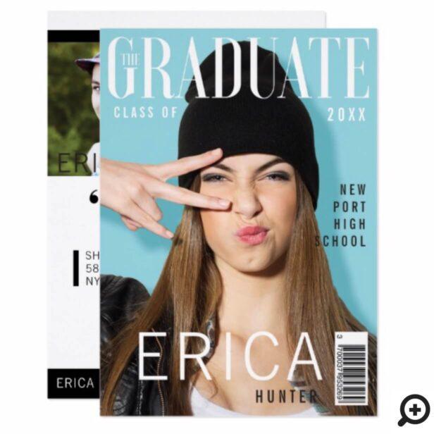 Trendy Magazine Cover Inspired Grad Invitation
