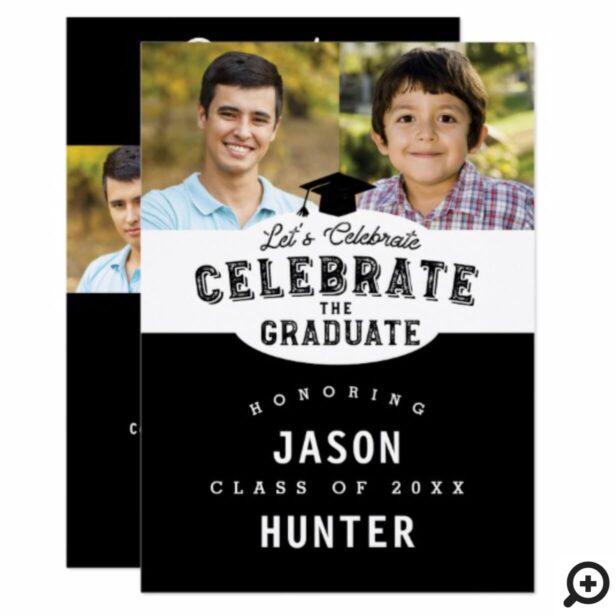 Clean Bold Black Multiple Photo Grad Invitation