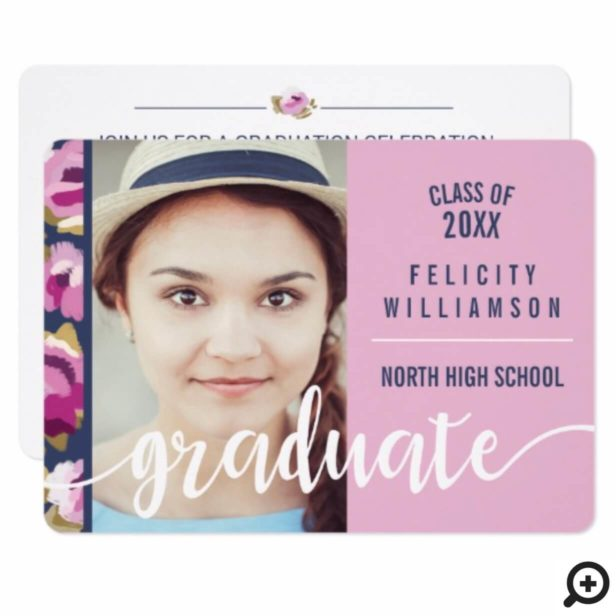 Trendy Chic Abstract Pink Floral Grad Invitation