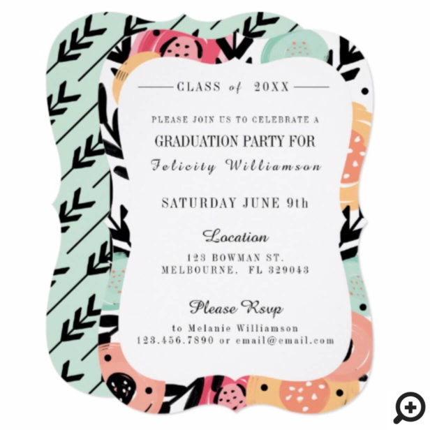 Bold Trendy Abstract Floral Print Grad Invitation