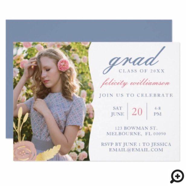 Modern Clean Floral Photo Graduation Invitation