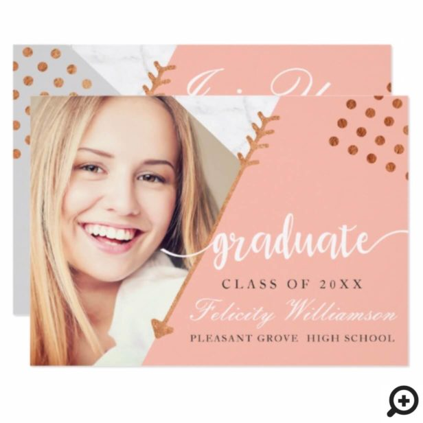 Trendy Abstract Pink, Grey Marble Grad Invitation