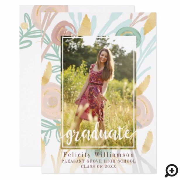 Abstract Boho Chic Floral Graduation Invitation
