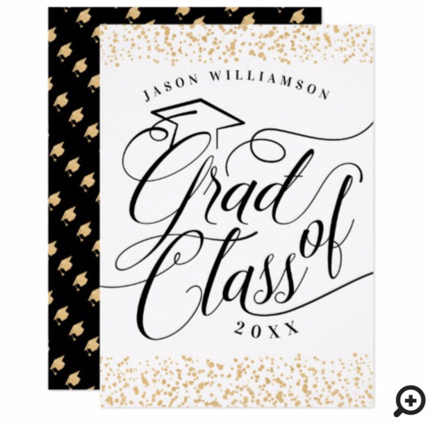 Elegant Classy Black, White & Gold Grad Invitation