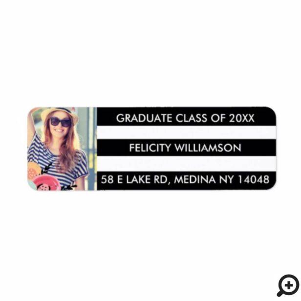 Black & White Striped & Floral Photo Graduation Label