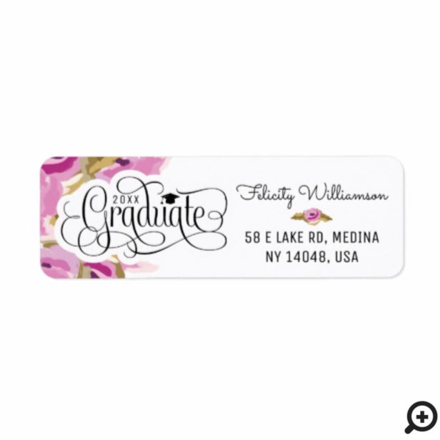 Chic Modern Abstract Floral Typographic Graduation Label