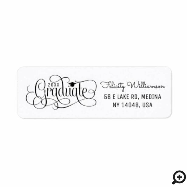 Modern, Elegant Black White Typographic Graduation Label