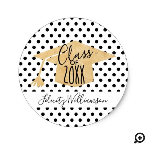 Trendy Gold & Black Polka Dot Grad Cap Graduation Classic Round Sticker