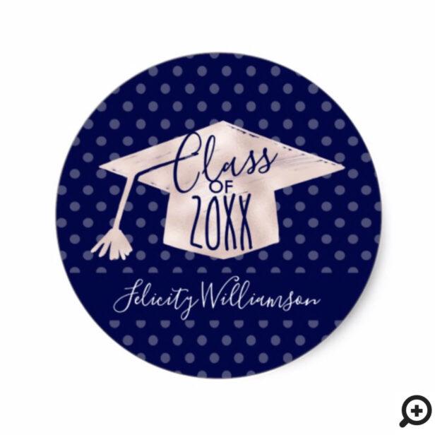 Trendy Pink & Navy Polka Dot Grad Cap Graduation Classic Round Sticker