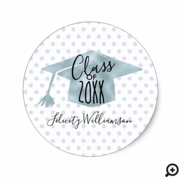 Trendy Black & Blue Polka Dot Grad Cap Graduation Classic Round Sticker