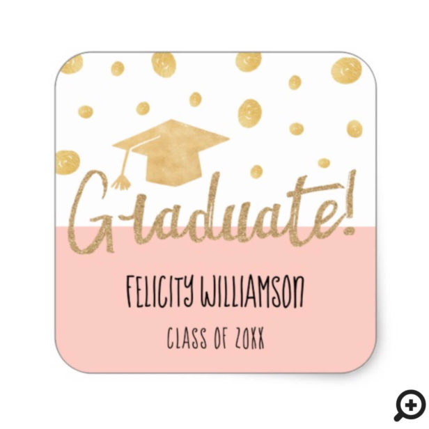 Chic Modern Trendy Gold & Pink Graduation Cap Square Sticker