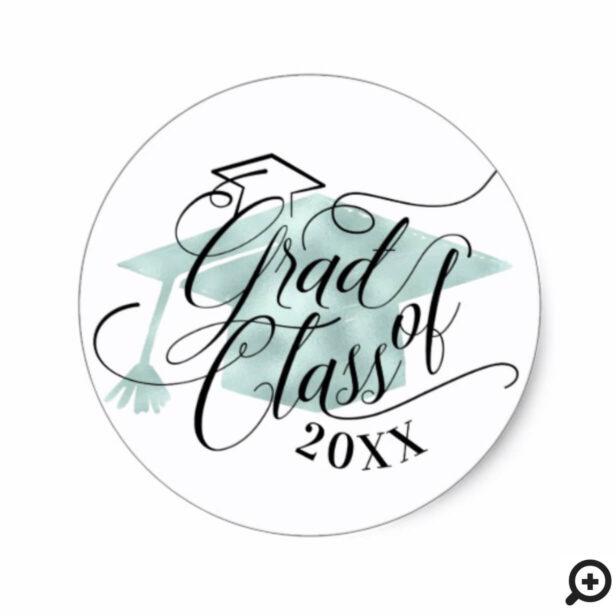 Elegant Black Script Typographic Green Grad Cap Classic Round Sticker