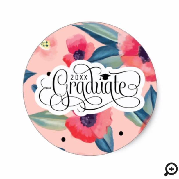 Modern Abstract Pink Red Floral Elegant Graduation Classic Round Sticker