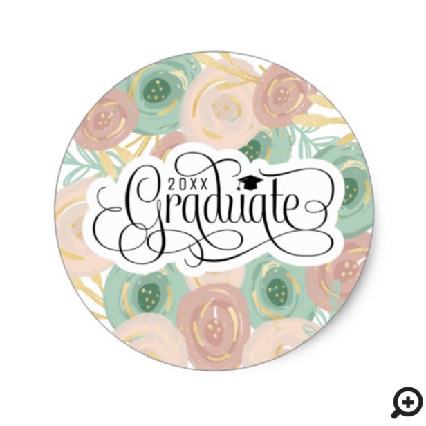 Chic Modern Abstract Floral Elegant Graduation Classic Round Sticker