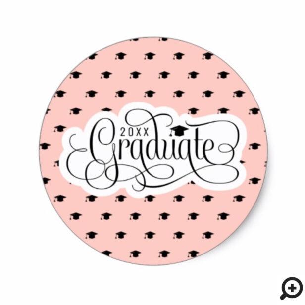 Bold Trendy Pink & Black Graduation Cap Pattern Classic Round Sticker