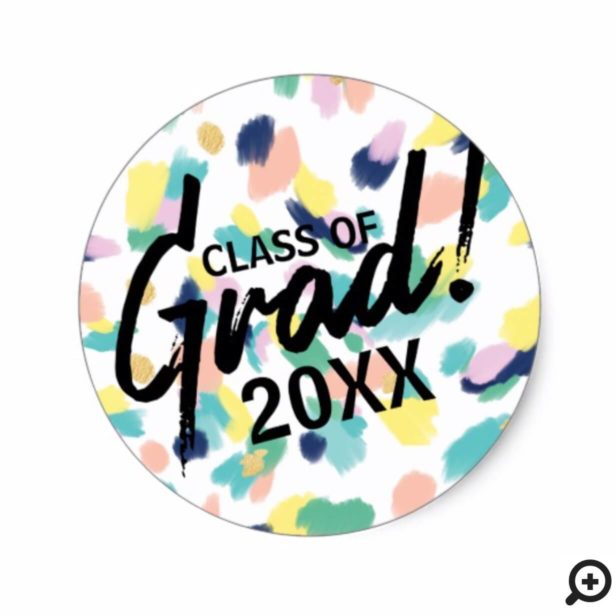Colourful Modern & Trendy Animal Print Graduation Classic Round Sticker