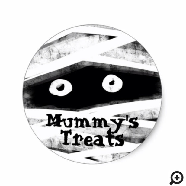 Monster Bash | Black & White Mummy Halloween Party Classic Round Sticker