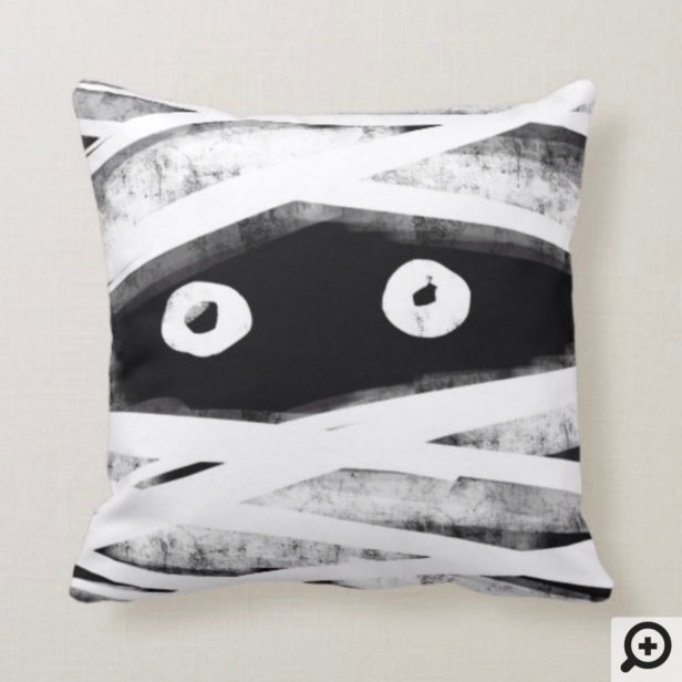 Spooky Black & White Wrapped Mummy Face Halloween Throw Pillow