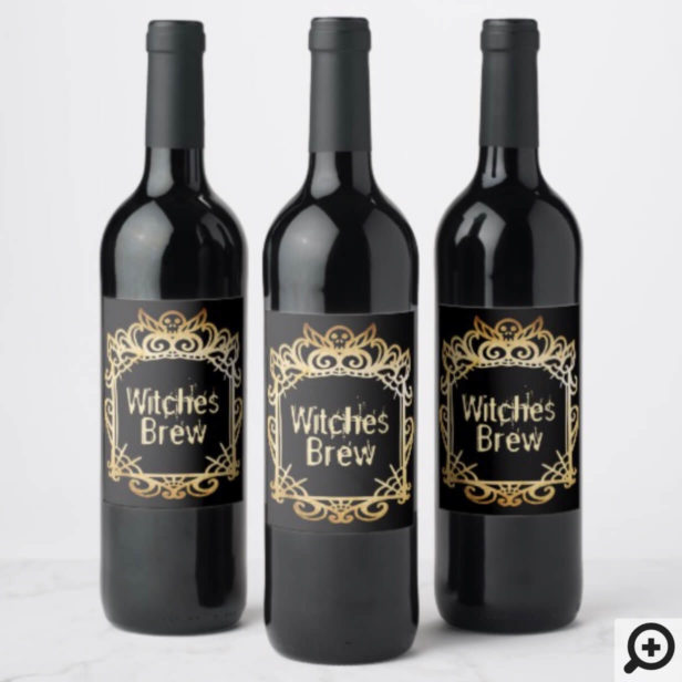 Witches Brew | Spooky Skull Decorative Halloween Wine Label