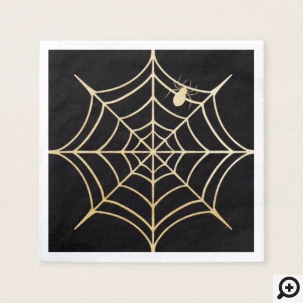 Black & Gold Spooky Halloween Spiderweb & Spider Napkin