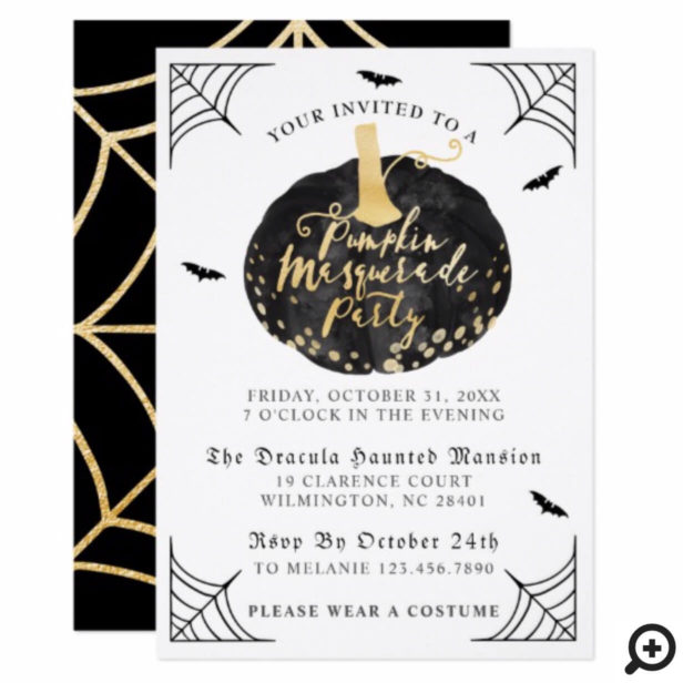 Black & Gold Pumpkin Masquarade Halloween Party Invitation
