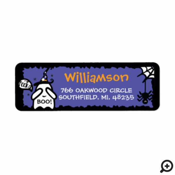 Cute Adorable Peek a Boo! Ghost Happy Halloween Label