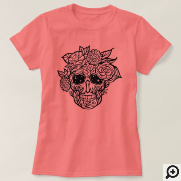 Bold Line Drawn Black & White Floral Sugar Skull T-Shirt
