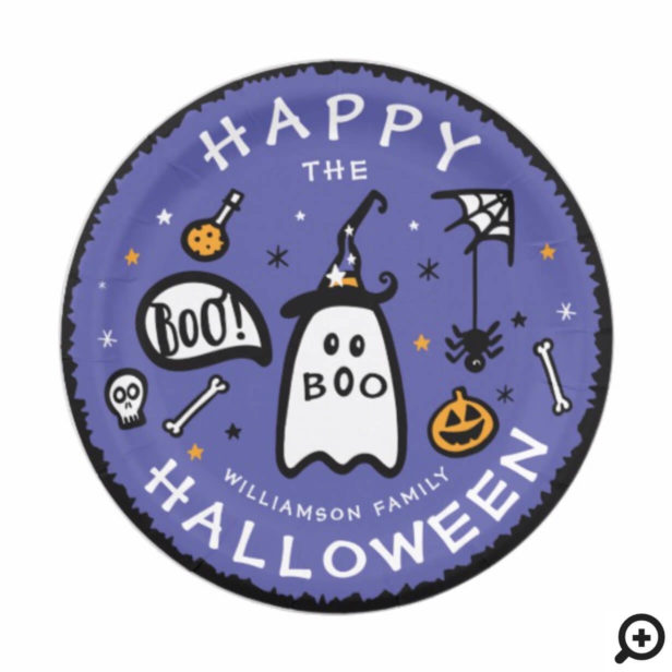 Cute Adorable Ghost Happy Halloween Paper Plate