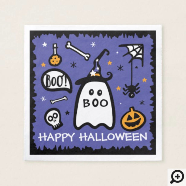 Cute Adorable Ghost Happy Halloween Napkin