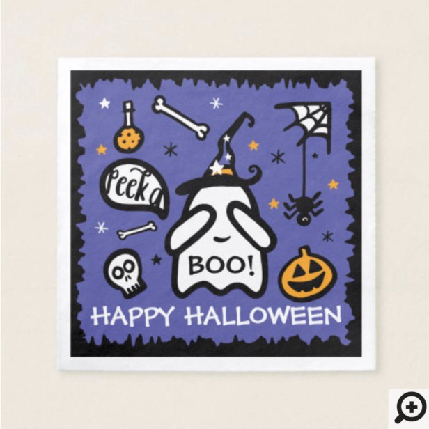 Cute Adorable Peek a Boo! Ghost Happy Halloween Napkin