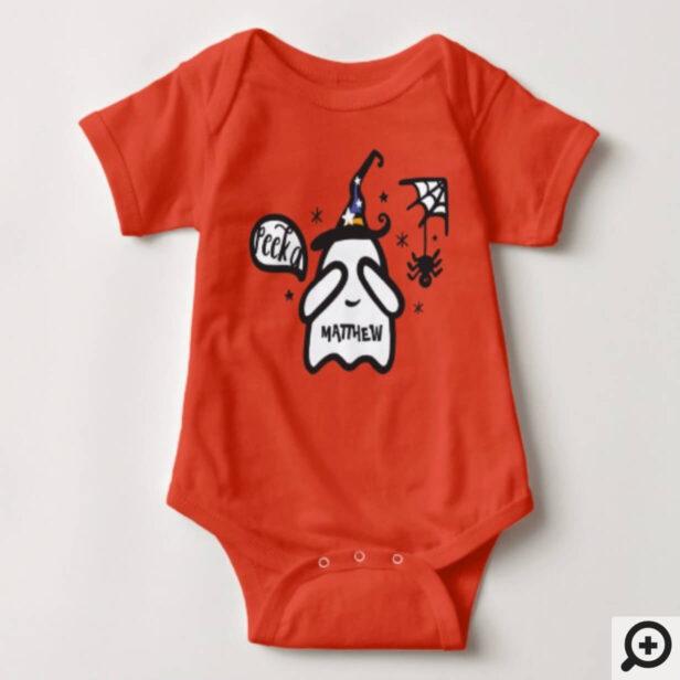 Cute adorable Peek a Boo! Ghost Halloween Baby Bodysuit