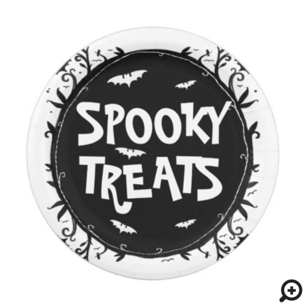 Spooky Treats Scary Halloween Forest and Bats Paper Plate