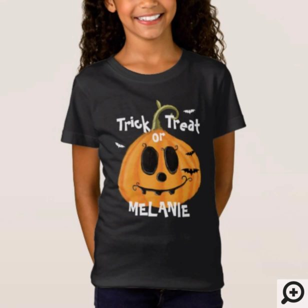 Tick or Treat Jack-O-Lantern Pumpkin and bats T-Shirt