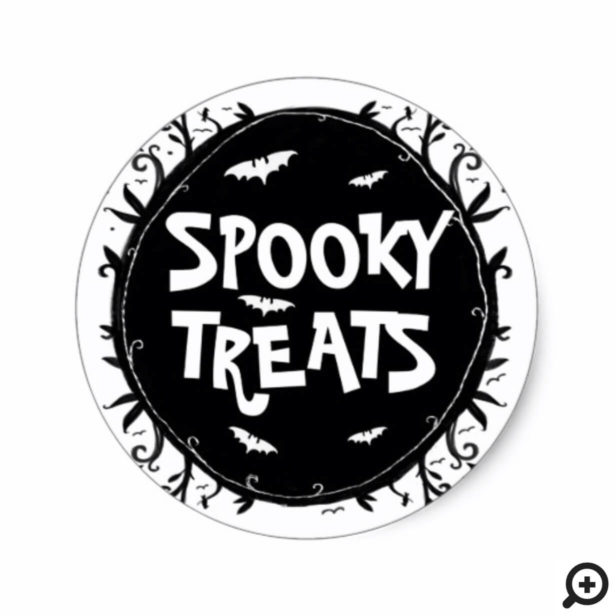 Spooky Treats Scary Halloween Forest and Bats Classic Round Sticker