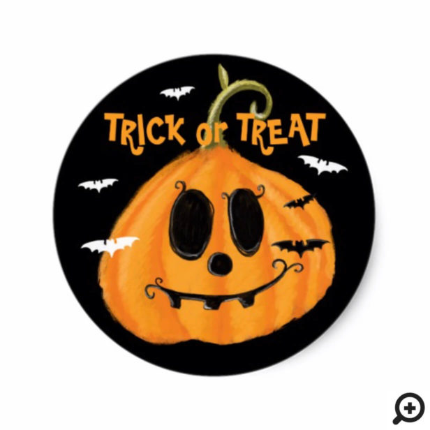 Trick Or Treat Pumpkin Jack O Lantern & Bats Classic Round Sticker