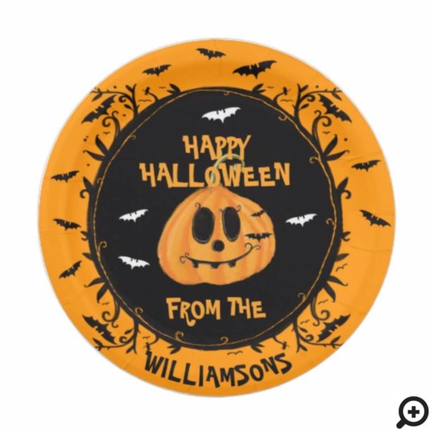 Happy Halloween Spooky Pumpkin Carving Party Paper Plate