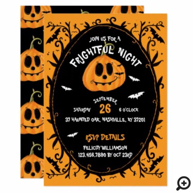 Fright Night Scary Halloween Pumpkin Carving Party Invitation
