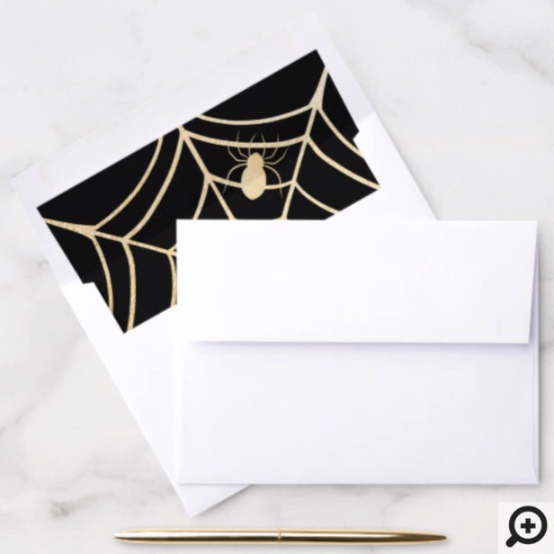 Black & Gold Spooky Halloween Spiderweb & Spider Envelope Liner