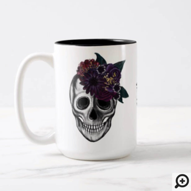 Black & Gold Moody Floral Halloween Skull Monogram Two-Tone Coffee Mug