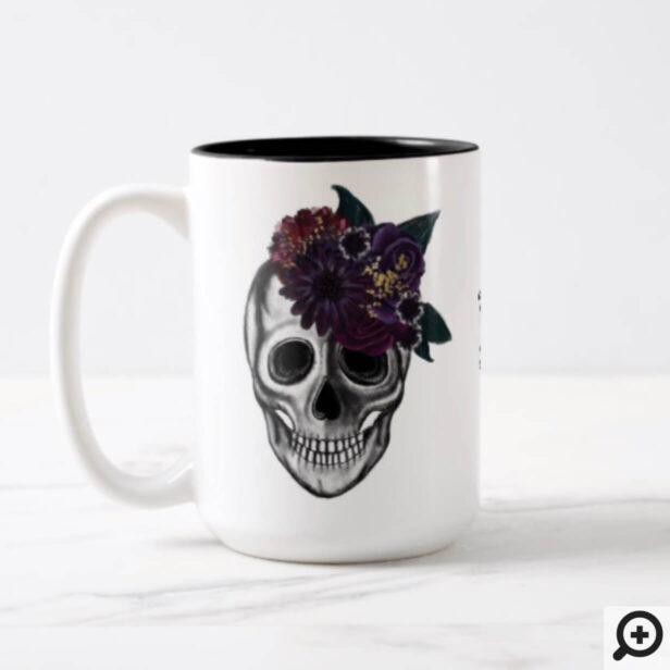 Black & Gold Moody Floral Halloween Skull Monogram Two-Tone Coffee Mug