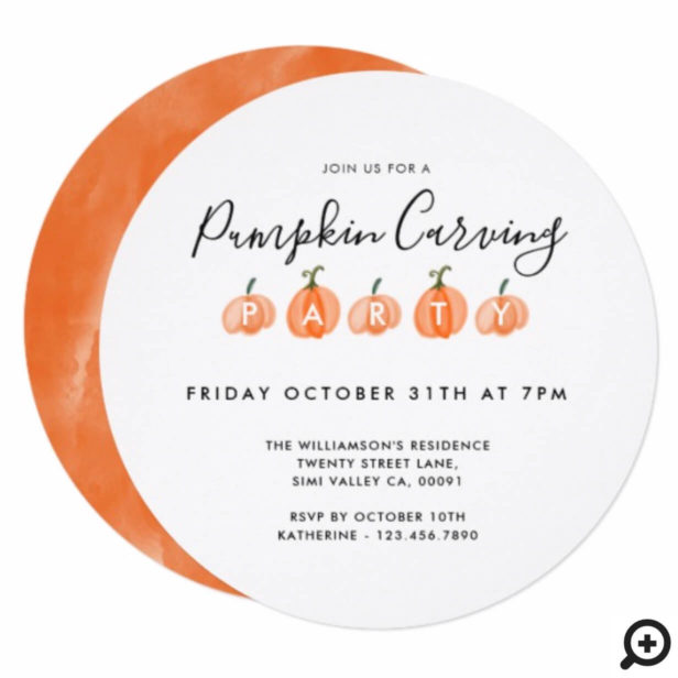 Modern Watercolor Pumpkin Carving Halloween Party Invitation