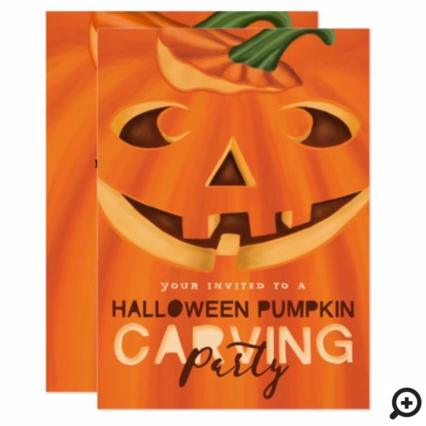 Halloween Jack-O-Lantern Pumpkin Carving Party Invitation