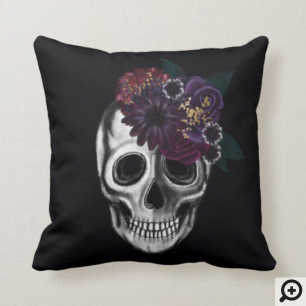 Black & Gold Moody Floral Halloween Skull Throw Pillow