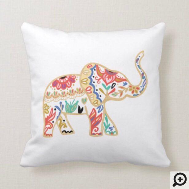Elegant Floral Decorative Ornate Elephant Design Throw Pillow
