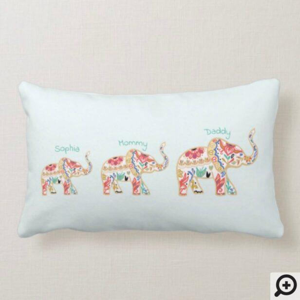 Elegant Floral Decorative Ornate Elephant Nursery Lumbar Pillow