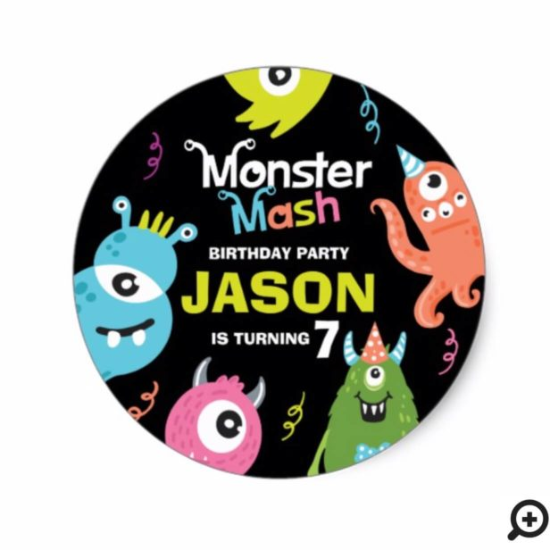 Cute Fun Colourful Monster Mash Birthday Party Classic Round Sticker