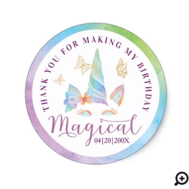 Magical Floral Butterfly Unicorn Girl's Birthday Classic Round Sticker